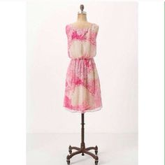 Anthropologie Rosey Plumes Dress S 10