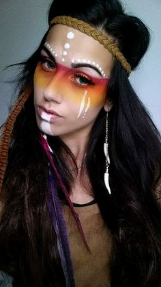 Halloween-Make-up-Aztec Princess halloween makeup costume Halloween Make Up, Halloween Costumes, Halloween Face Makeup, Funny Halloween, Halloween Ideas, Halloween Party, Burning Man Makeup, Make Carnaval, Tribal Makeup