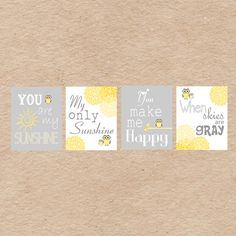"""Owl Nursery Art DIY Printable Owl """"You Are My Sunshine"""" in Grey and Yellow by DecorableDesigns. Great Baby Shower Gift!"""