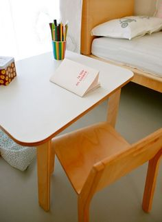 Child's table by Alex MacDonald for the Collection Editions  A small child's table that can also double up as a desk. Delivered flat and assembled in a minute!  #thecollection