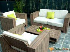 salon de jardin bas en bois cosmos - Salon De Jardin Bas
