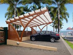 The wooden pergola is a good solution to add beauty to your garden. If you are not ready to spend thousands of dollars for building a cozy pergola then you may devise new strategies of trying out something different so that you can re Carport Designs, Garage Design, Pergola Designs, Exterior Design, House Design, Pergola Garden, Outdoor Pergola, Backyard, Modern Carport