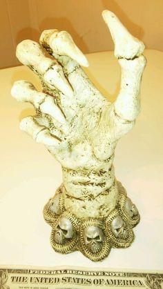 Skeleton bone hand statue Gothic Halloween decor ring model