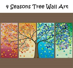 Tree painting Four season tree Original artwork gift for couple wall art canvas art four seasons tree - by qiqigallery Diy And Crafts, Arts And Crafts, Hard Crafts, Art Diy, Inspiration Art, Creative Inspiration, Art Plastique, Oeuvre D'art, Artsy Fartsy