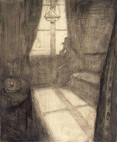 Edvard Munch  Moonlight. Night in St. Cloud,  1895  /Pencereden yansıyan ay ışığı ve bu odadaki yalnızlık.