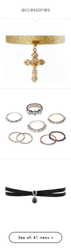 """accessories"" by issaxmonea ❤ liked on Polyvore featuring jewelry, necklaces, crucifix necklace, cross jewelry, choker jewelry, cross necklaces, baroque necklace, rings, multi and stacking rings jewelry"