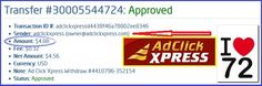 This is my 72nd withdrawal proof from AdclickXpress. ACX is definitely the best online marketing program on the web. It is easy; you don't need previous experience with online programs on the web. You just need to log in, click and collect your money! With ACX you can withdraw your commission daily! NO SCAM with ACX! Start here: http://bit.ly/1JxIgQY