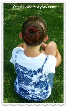 Ribbon swirl bun tutorial.  Would be cute for the 4th of July.
