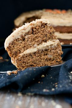 Take this season up a notch with this whole foods based peanut butter vegan gluten free carrot cake and whipped peanut butter cream cheese frosting.