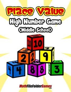 Place Value High Number Game   {Place Value Game} https://www.teacherspayteachers.com/Product/Place-Value-High-Number-Game-Middle-School-Place-Value-Game-1465380
