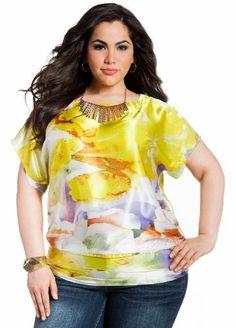 Fashion Bug Womens Plus Size Tropical Print Charmeuse #Blouse