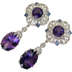 Absolutely GORGEOUS 13ct Vintage Amethyst, Sapphire Diamond Drop Earrings from Divine Finds Jewelry at RubyLane.com