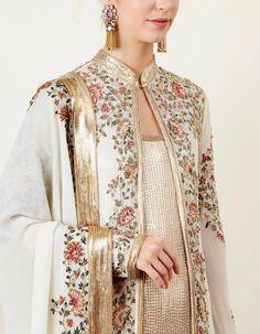Ivory Jacket Set with Sequin Inner Red Lehenga, Anarkali, Lehenga Choli, Sharara, Indian Designer Outfits, Designer Dresses, Pakistani Dresses, Indian Dresses, Indian Suits