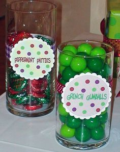 Winter party | peppermint patties, Grinch gumballs, reindeer noses, snowman noses | catchmyparty.com