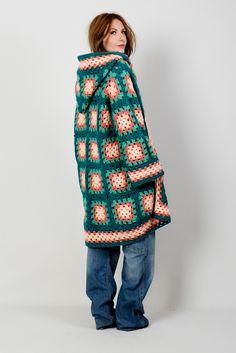 Vintage 70s hand crochet, granny square cardigan sweater