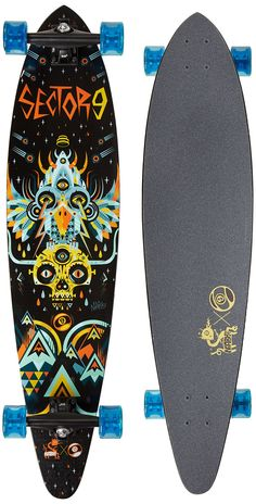 "Sector 9 Cosmos Complete Skateboards. 7 Ply cold pressed maple. Sector 9 Taco Mold. Traditional Top-Mount with Concave. Rides on 9"" Gullwing Charger trucks with 65mm Top Shelf Nineballs, PDP bearings and Sector 9 printed grip. Featured Artist series board with art by Niark 1."