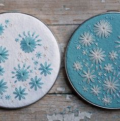 Hand Embroidered Hoop Art Set Aqua and Ivory by lovemaude on Etsy, $64.00