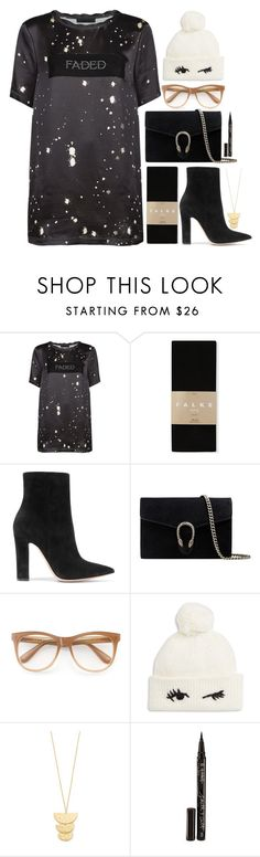 """""""Untitled #685"""" by atarituesday ❤ liked on Polyvore featuring Alexander Wang, Falke, Gianvito Rossi, Gucci, Wildfox, Kate Spade, Gorjana and Smith & Cult"""