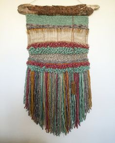 MADE TO ORDER. Handmade woven wall hanging. Made in Chile with natural wool, burlap and driftwood from Lago Puyehue. Measures 15x34 inches. It takes me three weeks to do it and three more weeks to arrive to you. Contact me if you have any questions