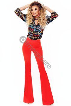 Bluza casual imprimeu colorat Bln 192 Atmosphere Fashion, Jumpsuit, Casual, Pants, Dresses, Style, Catsuit, Gowns, Playsuit