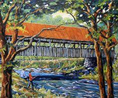 New England Covered Bridge large original oil by PrankePaintings, $350.00