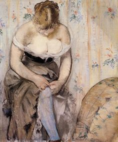 Mujer poniéndose la liga. Édouard Manet.
