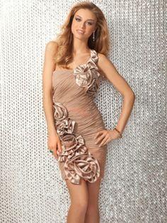 Sheath/Column One Shoulder Chiffon Short/Mini Cocktail Dress With Ruffled