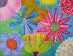 ORIGINAL Painting Floral Colorful Fun Oil Painting by TwigAndPetal, $25.00