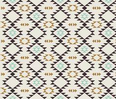 Navajo - Golden Brown Mint fabric by kimsa on Spoonflower - custom fabric