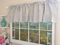 Gingham Gray Check Valance 80 Inches Wide Curtain Rods My