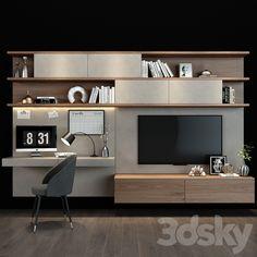 Modern Bedroom Design, Home Room Design, Home Office Design, Home Interior Design, Living Room Wall Units, Living Room Tv Unit Designs, Home Living Room, Modern Home Offices, Small Home Offices