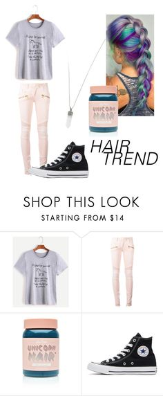 """""""Unicorn Hair"""" by casey-is-satan ❤ liked on Polyvore featuring beauty, Balmain, Lime Crime, Converse and Marc Jacobs"""