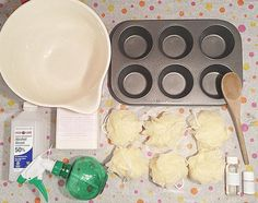 Step 1: All the supplies you'll need to make out sweet, soapy, scrubby, cupcake bath pouffs!  #DIY #soapmaking