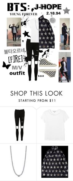 """BTS: J-HOPE ""Fire"" M/V Outfit"" by itzbrizo ❤ liked on Polyvore featuring Monki, BERRICLE and Yves Saint Laurent"
