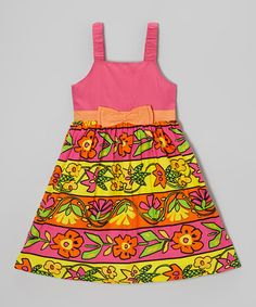 Love this Pink & Yellow Floral Stripe Dress - Girls on #zulily! #zulilyfinds