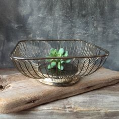 Silver Plate Square Basket Bowl: Square Bread Fruit Basket Bowl, Mid Century Modern Decor, Holiday Centerpiece, Vintage Wire Bowl by Untried on Etsy