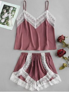 Satin Cami Top And High Leg Shorts Pajama Set Maroon M - Pajama Sets - Ideas of Pajama Sets Cute Sleepwear, Sleepwear Women, Pajamas Women, Sleepwear Sets, Sewing Lingerie, Lingerie Outfits, Slep Dress, Cute Pajama Sets, Pyjama Sets