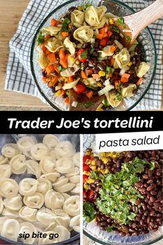 Use Trader Joe's tortellini pasta fresh or frozen for this tasty make ahead Mexican tortellini salad. | sipbitego.com #sipbitego #dinner #pastasalad #makeahead #potluck #sidedish #pastadish #familymeal #recipe #comfortfood #pasta #mexican #tortellini #partyfood Potato Side Dishes, Side Dishes Easy, Side Dish Recipes, Easy Dinner Recipes, Pasta Salad With Tortellini, Easy Pasta Salad, Mexican Pasta, Baked Rigatoni, Make Ahead Salads