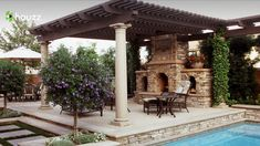 Pergola pillars wooden beams and fireplace