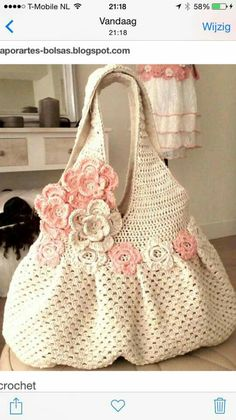 tejidos a crochet bolsos y carteras ile ilgili görsel sonucu Crochet Tote, Crochet Handbags, Crochet Purses, Knit Or Crochet, Crochet Crafts, Crochet Stitches, Crochet Projects, Crochet Patterns, Knitted Bags