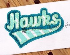 Hawks Double Vintage Stitch Applique - 6 Sizes! | Sport Teams | Machine Embroidery Designs | SWAKembroidery.com Creative Appliques