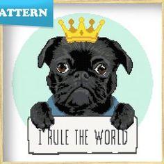 Where the Dog Is Tan Black Pug Cross Stitch Pattern   Etsy Black Pug, Black And White, Corgi Cross, Mixed Breed, Digital Pattern, Pugs, Dog Breeds, Cross Stitch Patterns, Pattern Design