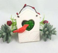 Ceramic Houses, Ceramic Birds, House Ornaments, Bird Perch, Bird Sculpture, Heart Wall, Etsy Crafts, Etsy Handmade, Handmade Gifts