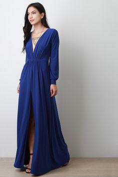 Vent Slit Long Sleeve Maxi Dress