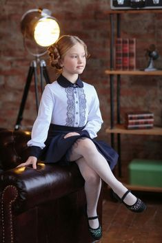 Children and Young Cute Little Girl Dresses, Cute Girls, Girls Dresses, School Uniform Girls, Girls Uniforms, Tween Fashion, School Fashion, Kids Outfits, Cute Outfits