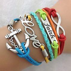 Símbolos de la vendimia de las mujeres Multideck Anchor Multicolor combinados pulsera trenzada – USD $ 4.19
