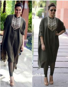 Neha Dhupia in a Hena green embroidered tunic and tights by Payal Singhal for her movie promotions. Indian Attire, Indian Ethnic Wear, Indian Dresses, Indian Outfits, Kurta Style, Indian Designer Suits, Kurta Designs Women, Desi Wear, Desi Clothes