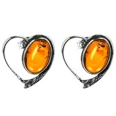 Sterling Silver Cognac Color Amber Heart Earrings Cabochon Size 10x14mm: Jewelry: Amazon.com