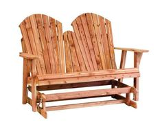 Amish Cedar Wood Adirondack Loveseat Bench Glider Take the good times outside with this comfy, soothing glider made of rich cedar. Amish made in America. #glider #outdoorfurniture