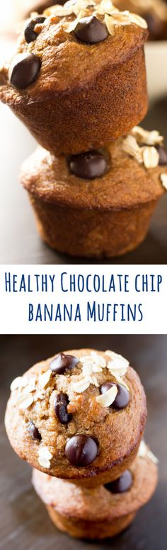 Healthy Chocolate Chip Banana Muffins in less than 30 minutes~made with bananas, greek yogurt, dark chocolate, whole wheat flour and coconut oil
